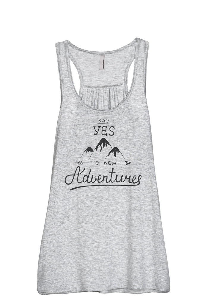 Say Yes To New Adventures Women Sport Grey Flowy Sleeveless Racerback Tank Top
