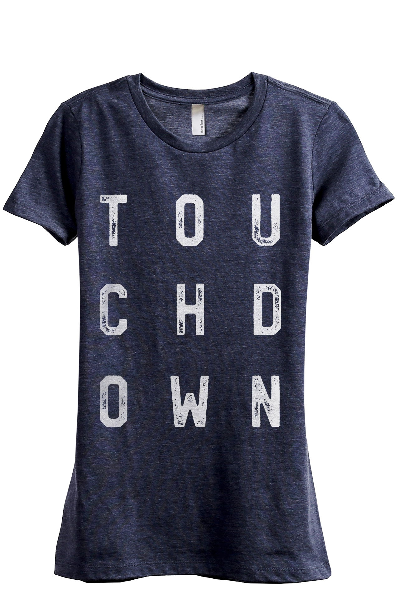Touchdown Women's Relaxed Crewneck T-Shirt Top Tee Heather Navy Grey