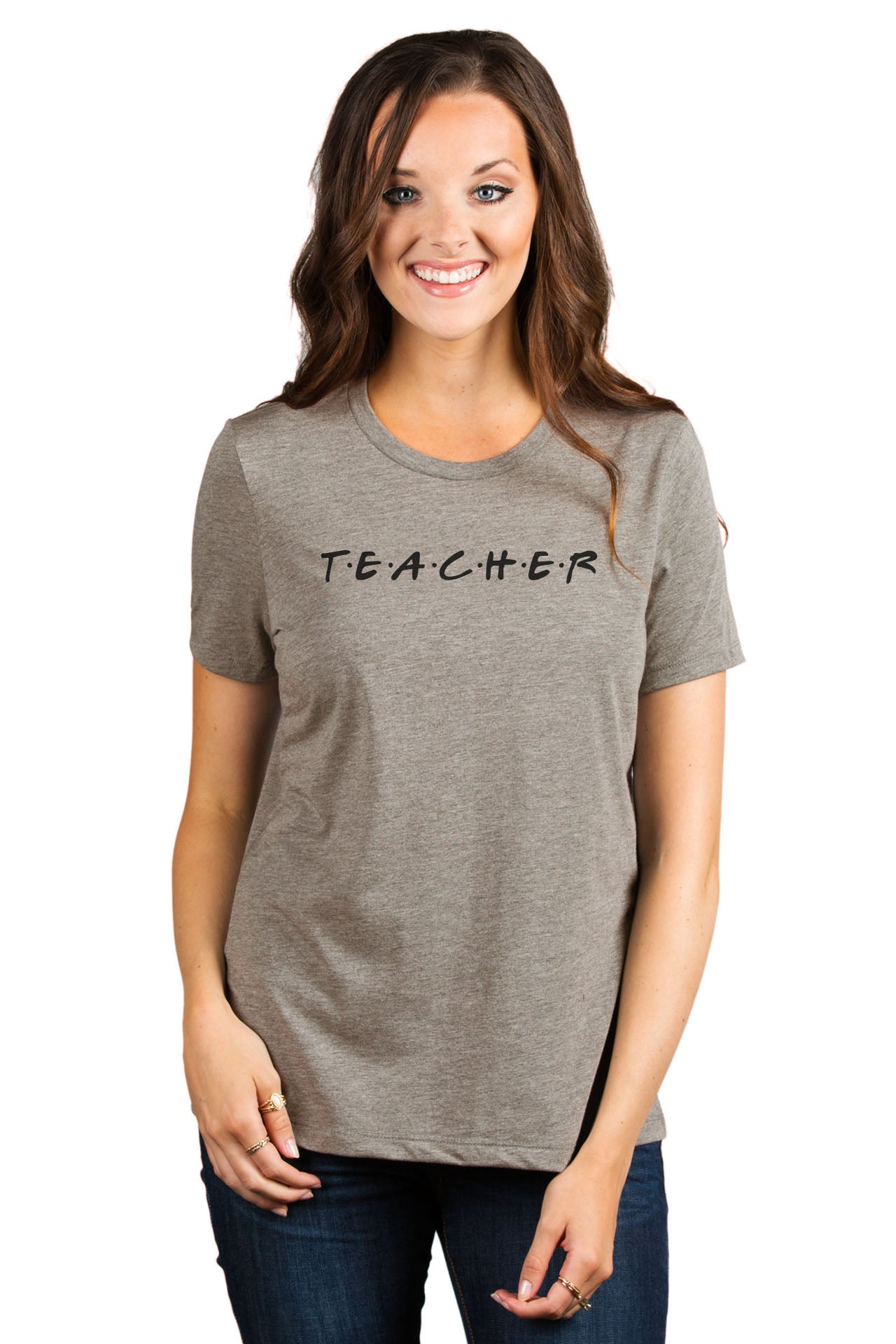Teacher Friends Women's Relaxed Crewneck T-Shirt Top Tee Heather Tan