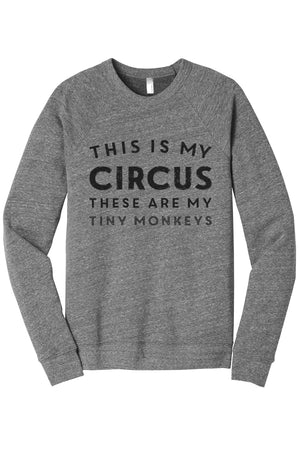 This Is My Circus These Are My Tiny Monkeys Women's Cozy Fleece Longsleeves Sweater Heather Grey FRONT