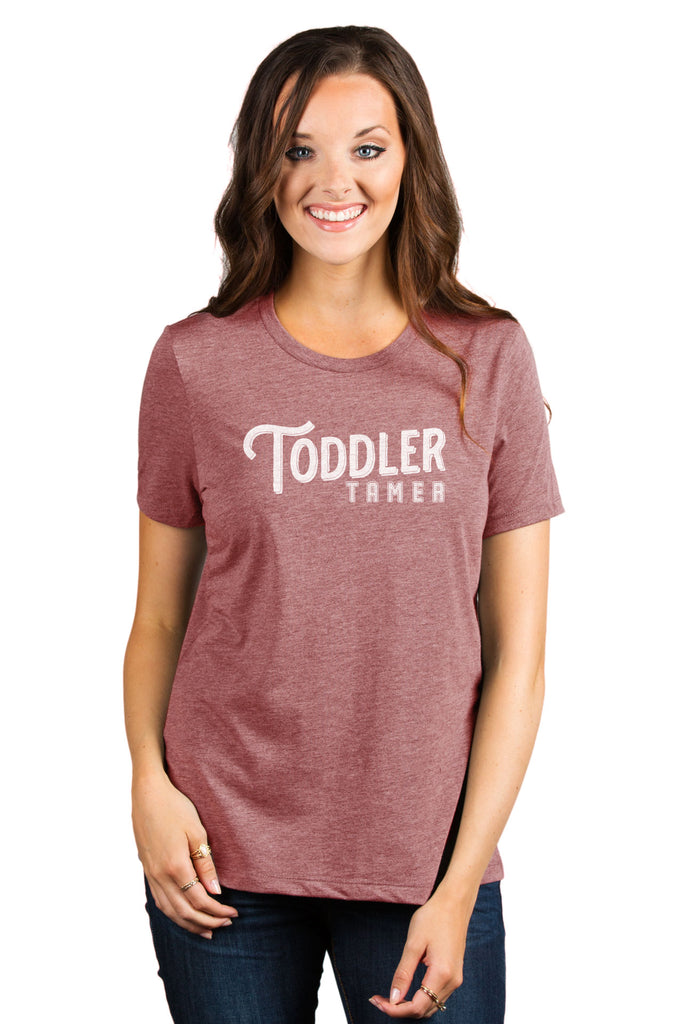 Toddler Tamer Women's Relaxed Crewneck T-Shirt Top Tee Heather Rouge Model
