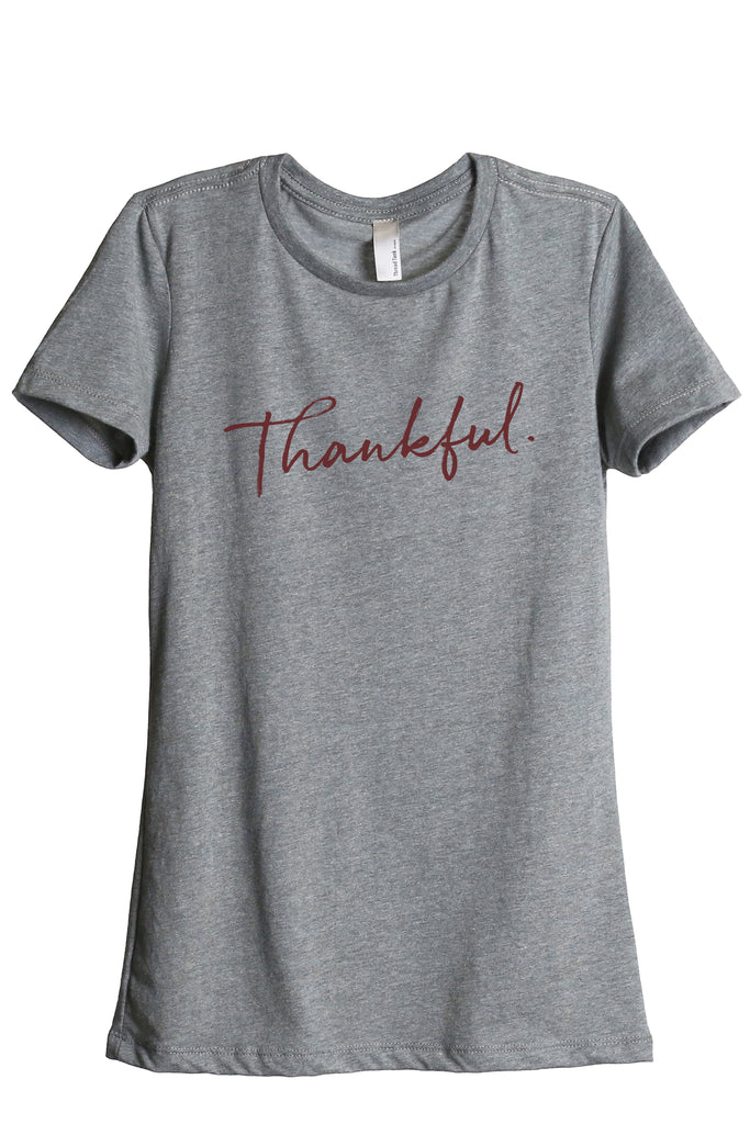 Thankful Cursive Women's Relaxed Crewneck T-Shirt Top Tee Heather Grey