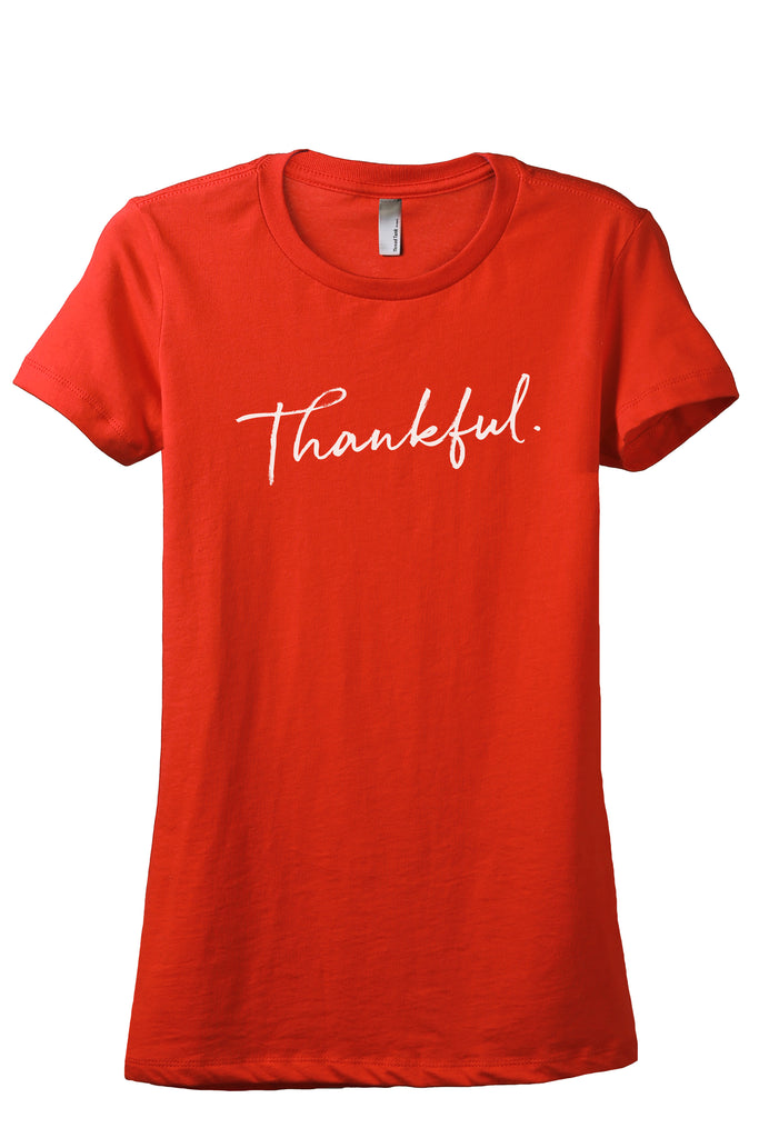 Thankful Cursive Women's Relaxed Crewneck T-Shirt Top Tee Poppy