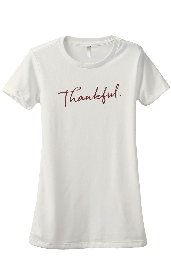 Thankful Cursive Women's Relaxed Crewneck T-Shirt Top Tee Vintage White