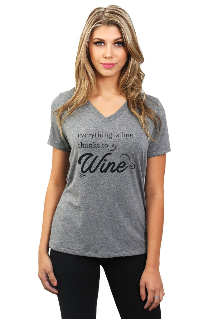 Everything Is Fine Thanks To Wine Women's Relaxed V-Neck T-Shirt Tee Heather Grey Model