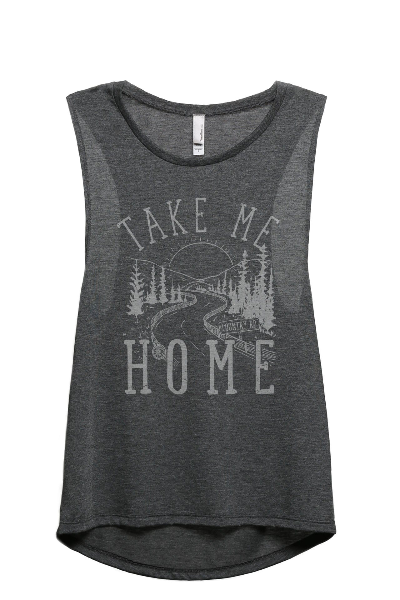 Take Me Home Country Road Women's Relaxed Muscle Tank Tee Charcoal