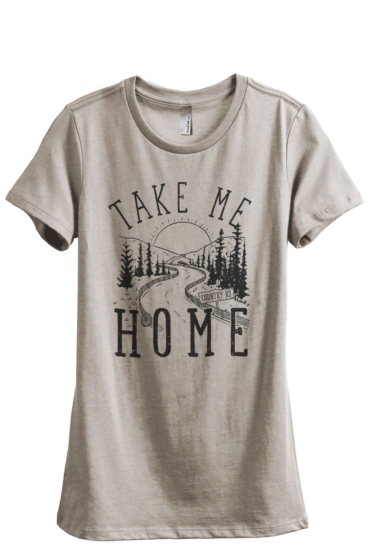 Take Me Home Country Road Women's Relaxed Crewneck T-Shirt Top Tee Heather Tan