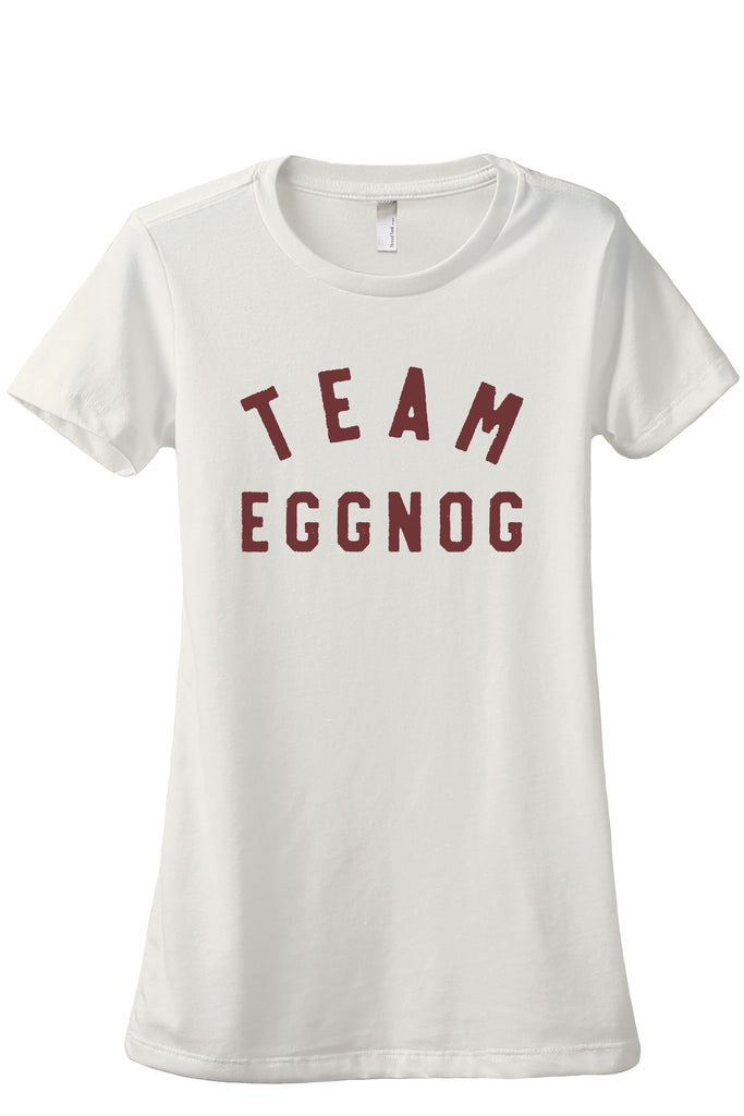 Team Eggnog Women's Relaxed Crewneck T-Shirt Top Tee Vintage White Scarlet Scarlet Print