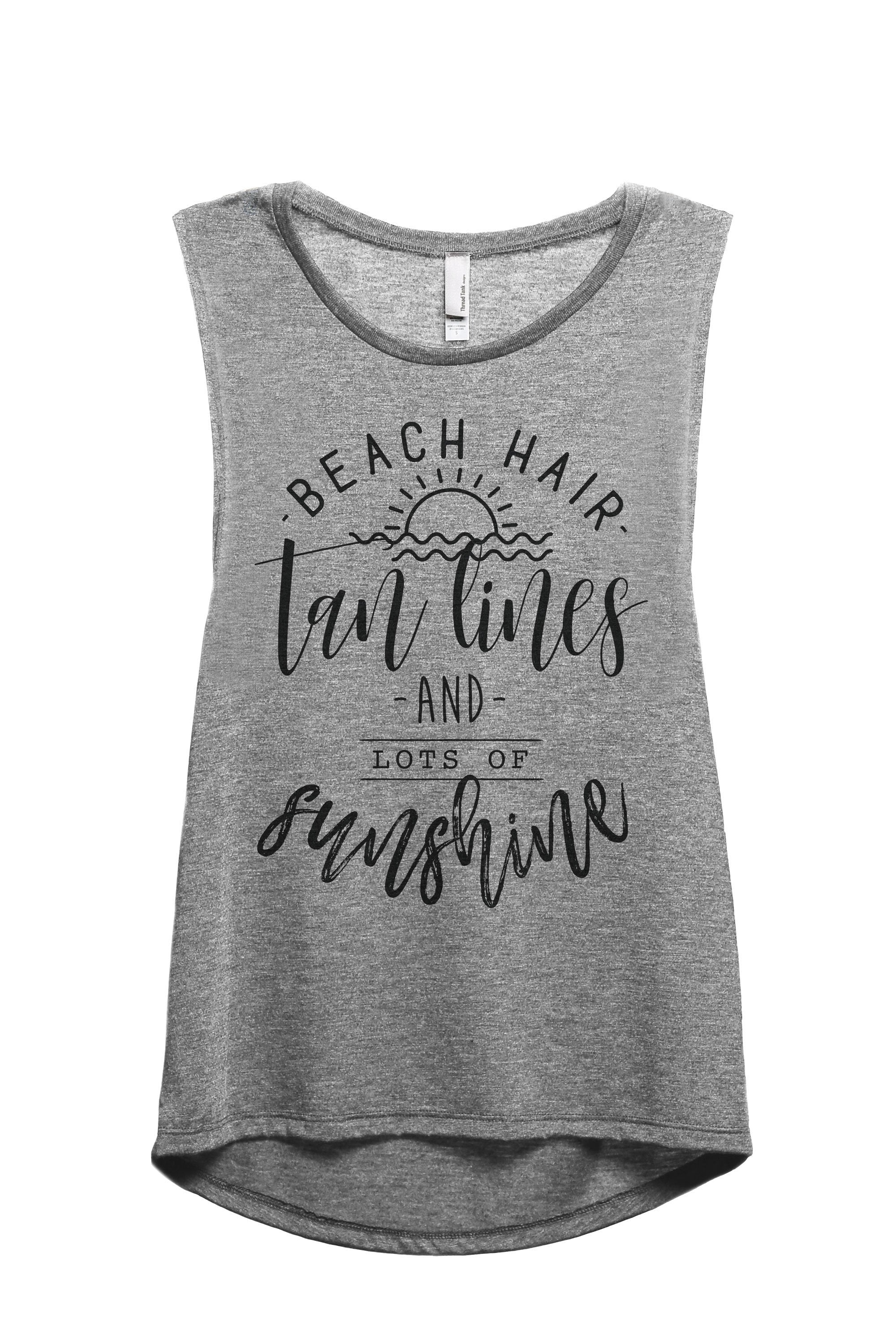 Beach Hair Tan Lines Sunshine Women's Relaxed Muscle Tank Tee Heather Grey