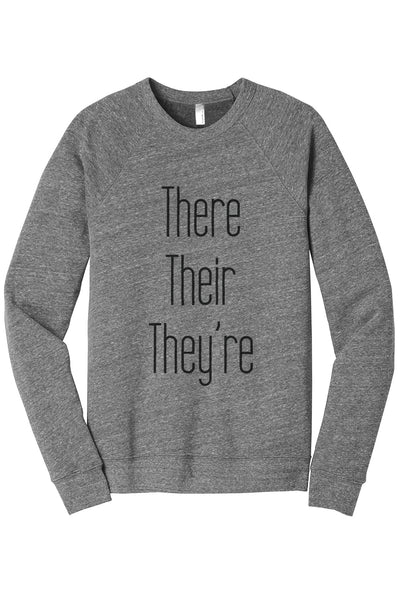 There Their Theyre Women's Cozy Fleece Longsleeves Sweater Heather Grey FRONT