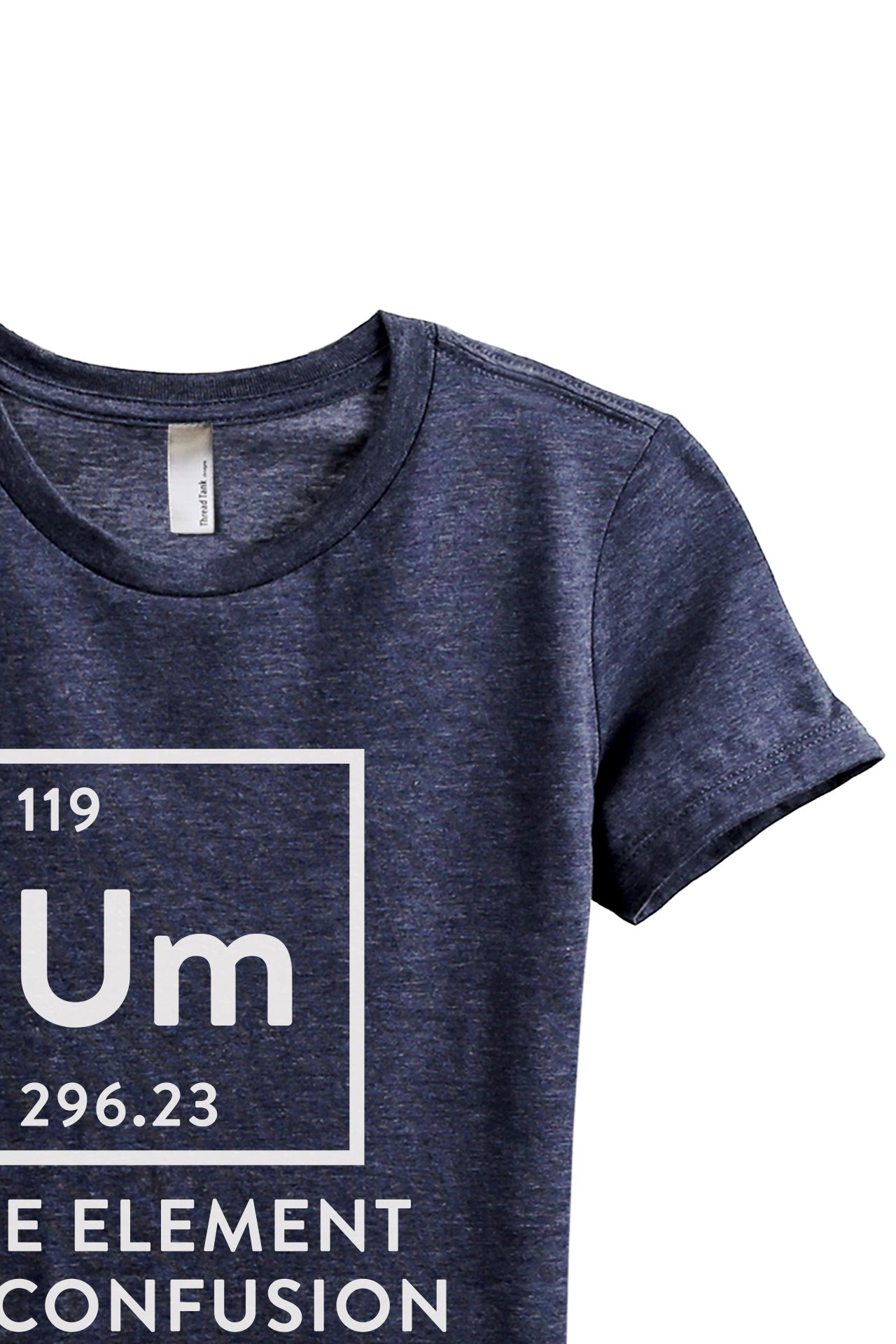 Um Element Of Confusion Women's Relaxed Crewneck T-Shirt Top Tee Heather Navy