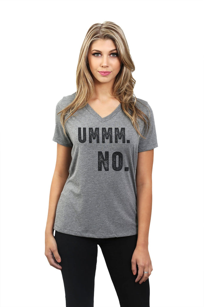 Ummm NO Women Heather Grey V-Neck T-Shirt Tee Top With Model