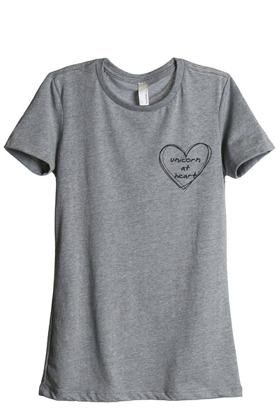 Unicorn At Heart Women Heather Grey Relaxed Crew T-Shirt Tee Top