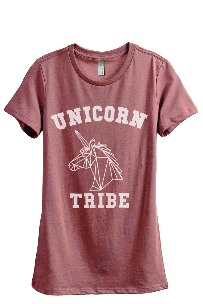 Unicorn Tribe Women Heather Rouge Relaxed Crew T-Shirt Tee Top