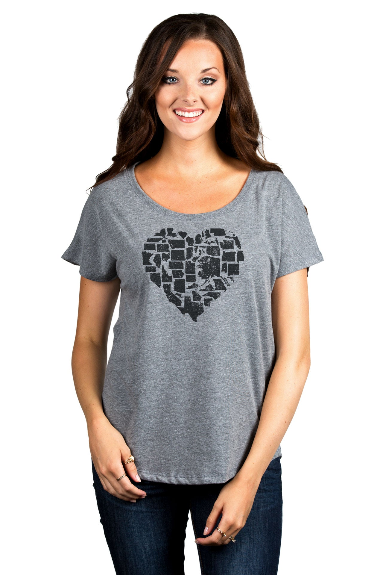 United Hearts Women's Relaxed Slouchy Dolman T-Shirt Tee Heather Grey