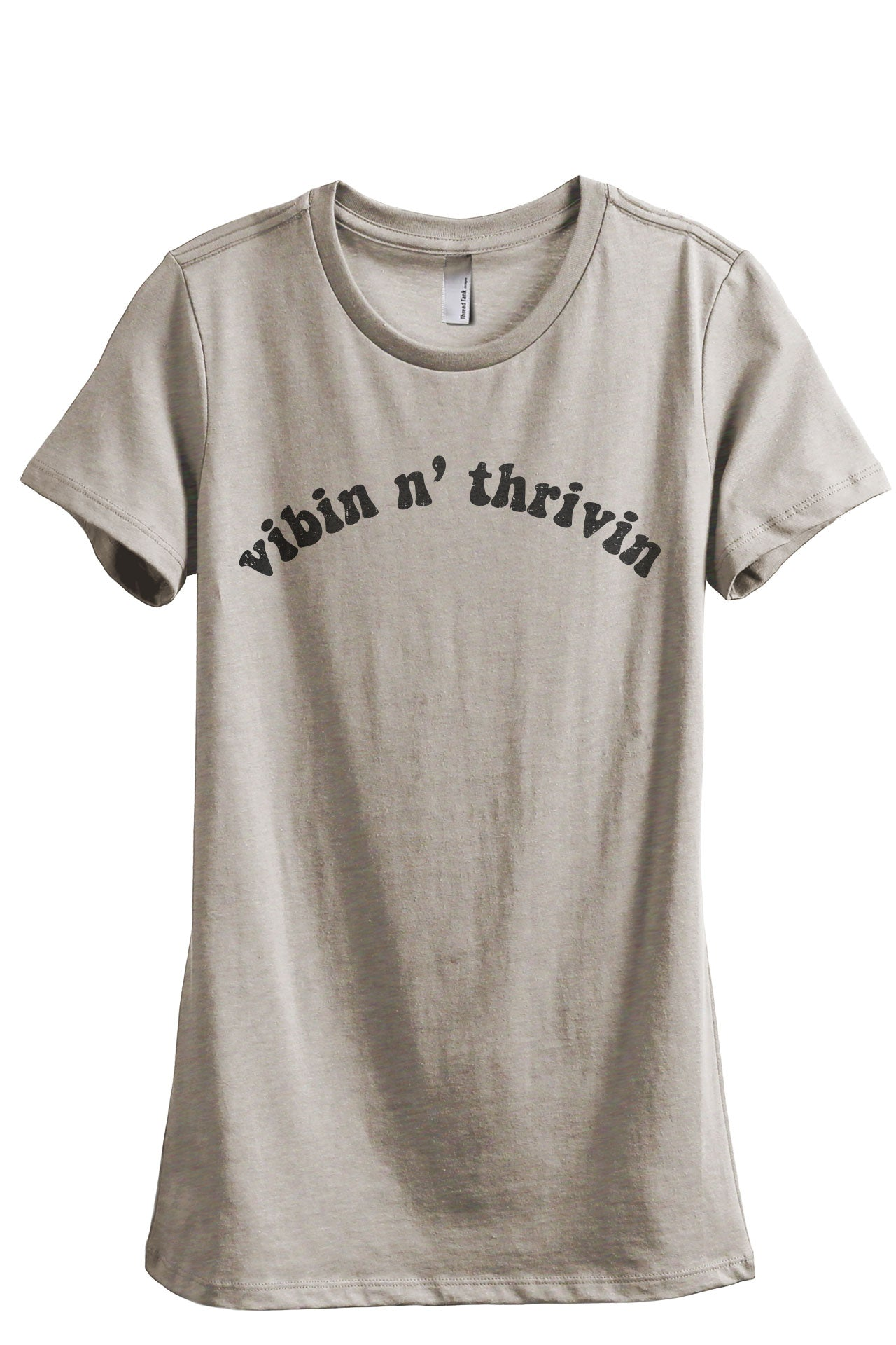 Vibin N' Thrivin Women's Relaxed Crewneck T-Shirt Top Tee Heather Tan Grey