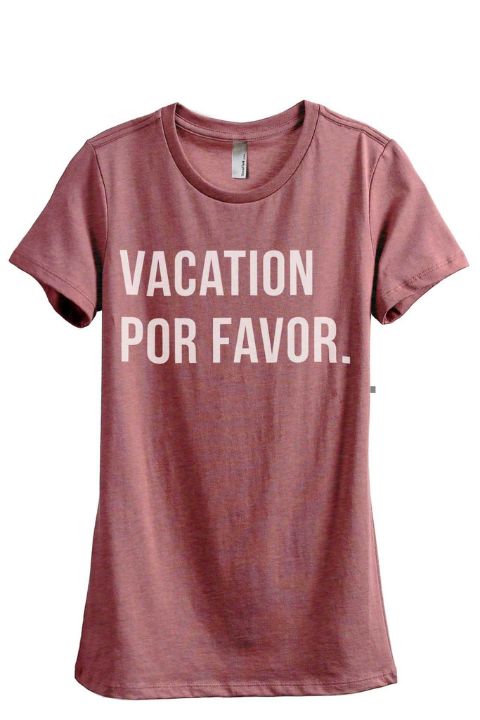 Vacation Por Favor Women Heather Rouge Relaxed Crew T-Shirt Tee Top
