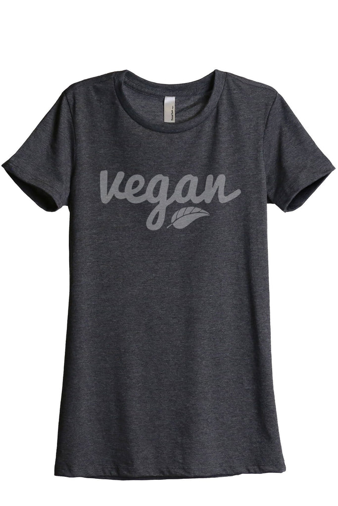 Vegan Women Charcoal Grey Relaxed Crew T-Shirt Tee Top