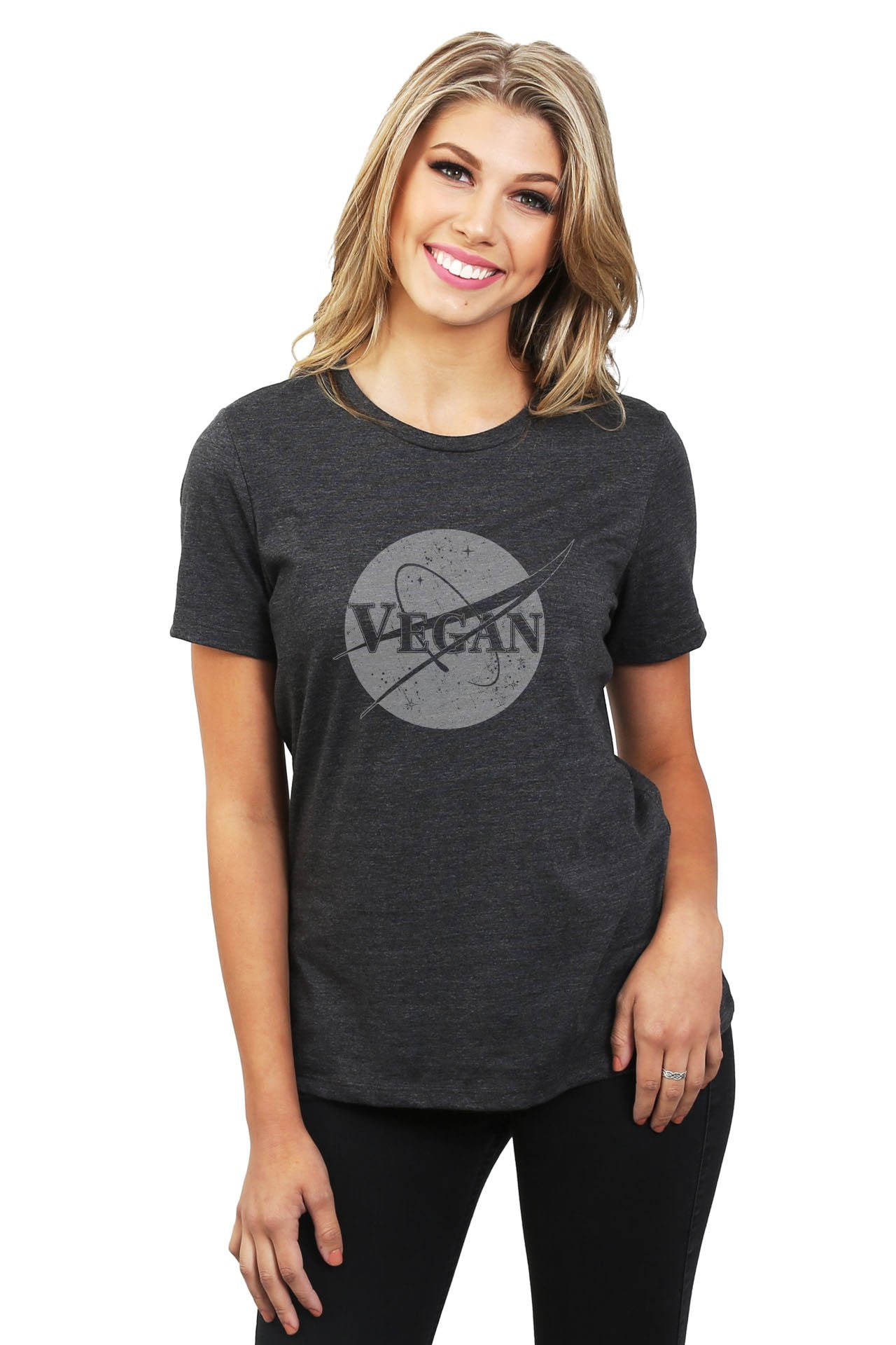 Vegan Out Of This World Women's Relaxed Crewneck T-Shirt Top Tee Charcoal Grey
