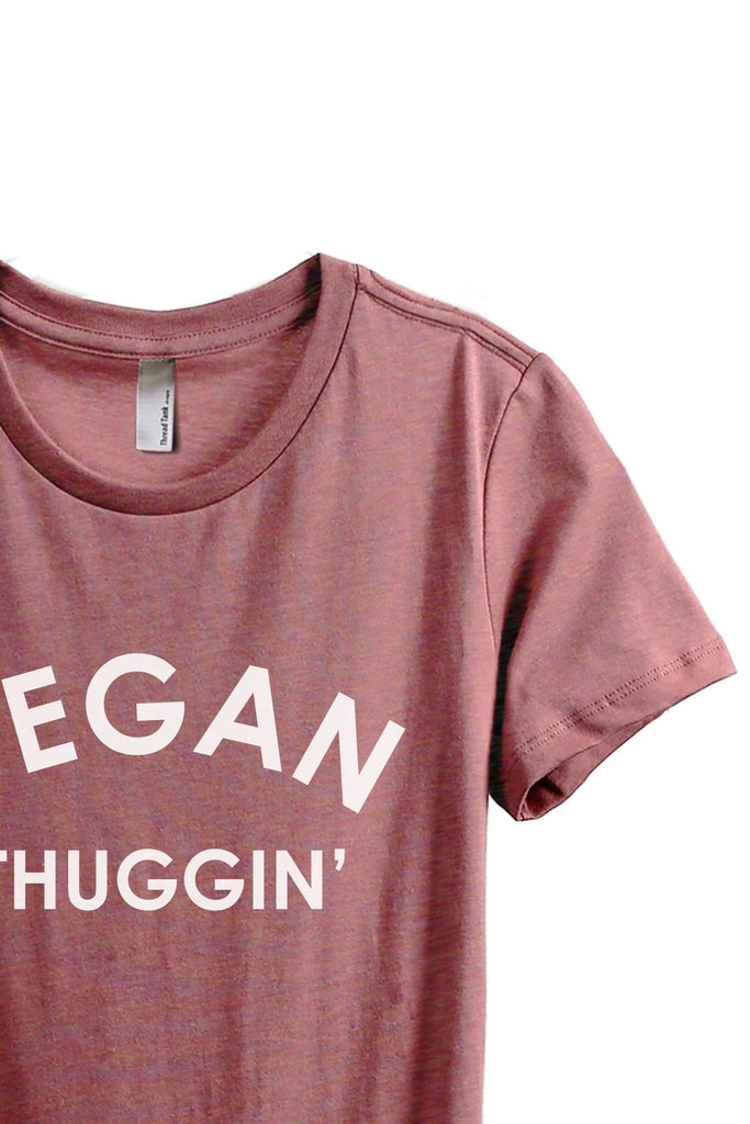 Vegan Thuggin Women's Relaxed Crewneck T-Shirt Top Tee Heather Rouge Zoom Details