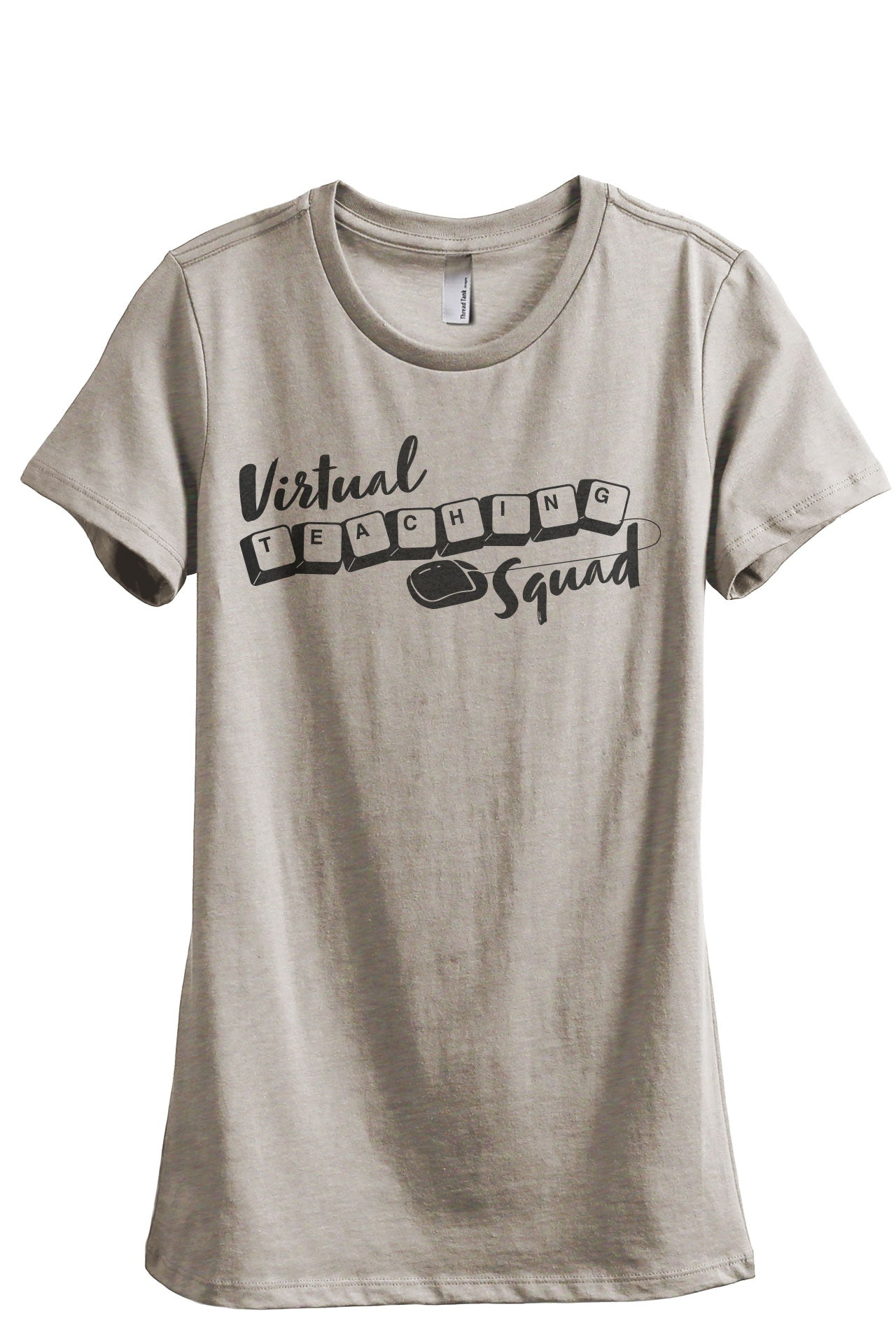 Virtual Teaching Squad Women's Relaxed Crewneck T-Shirt Top Tee Heather Tan