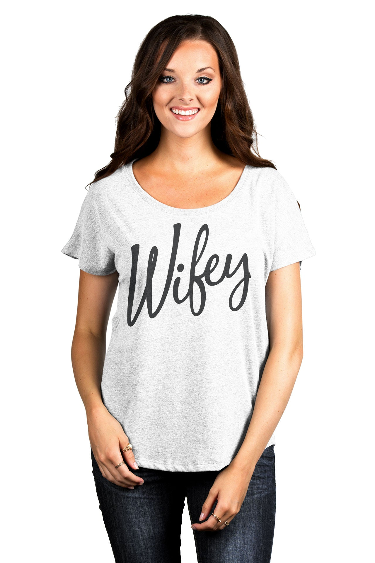 Wifey Cursive Women's Relaxed Slouchy Dolman T-Shirt Tee Heather White