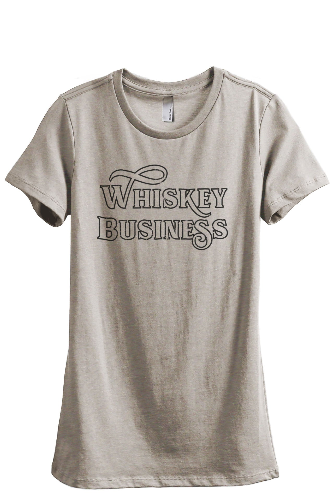 Whiskey Business Women's Relaxed Crewneck T-Shirt Top Tee Heather Tan