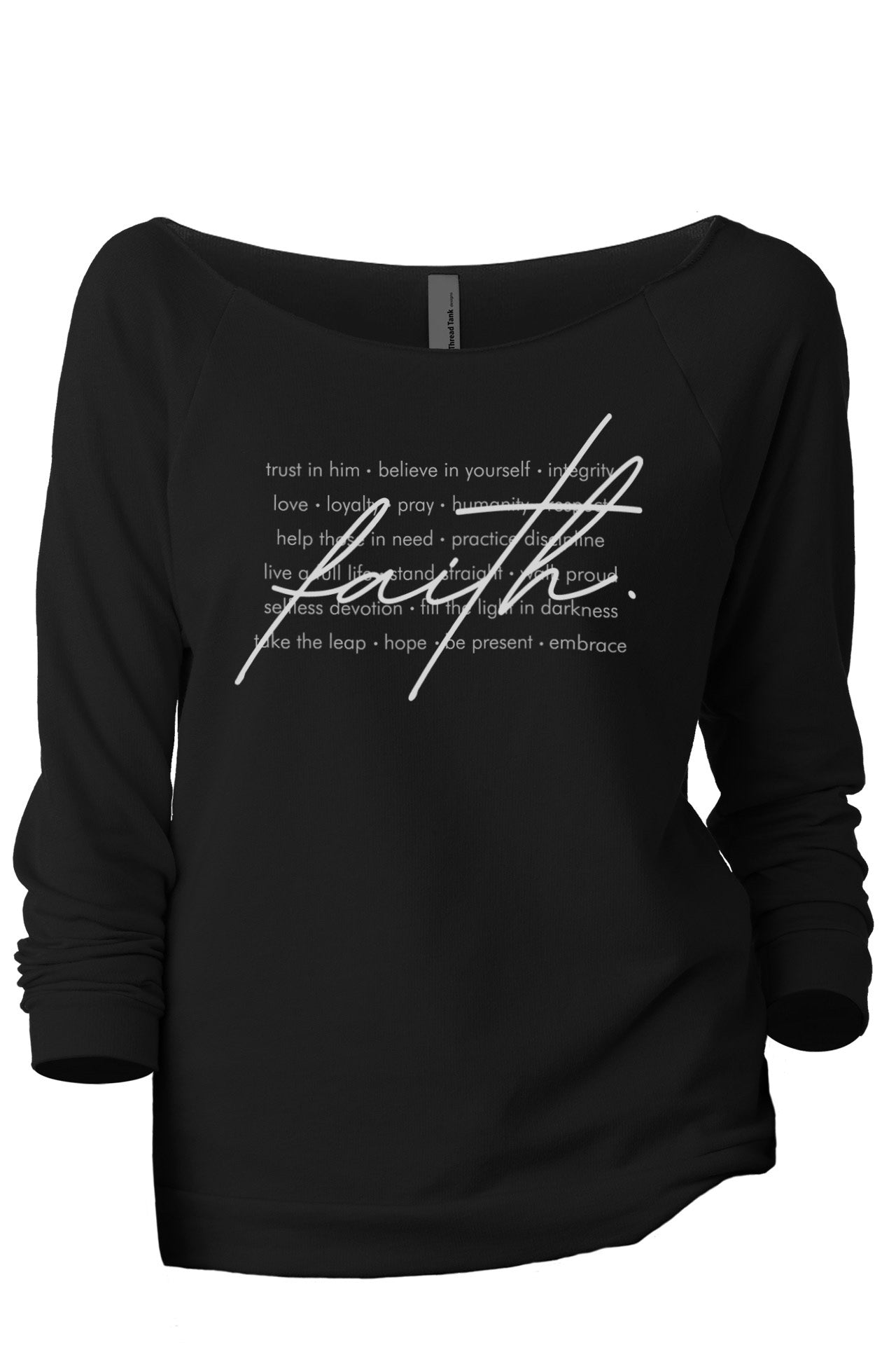 What Is Faith Women's Graphic Printed Lightweight Slouchy 3/4 Sleeves Sweatshirt Sport Black