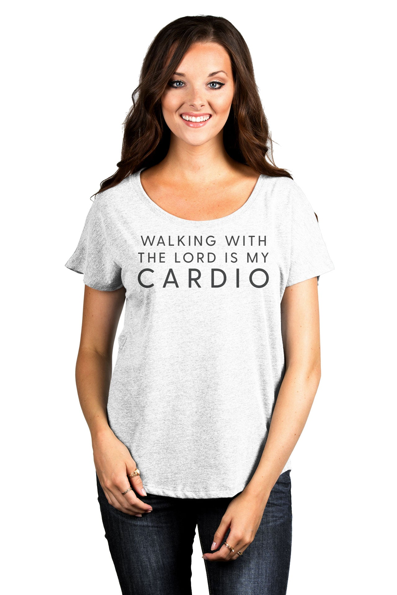Walking With The Lord Is My Cardio Women's Relaxed Slouchy Dolman T-Shirt Tee Heather White