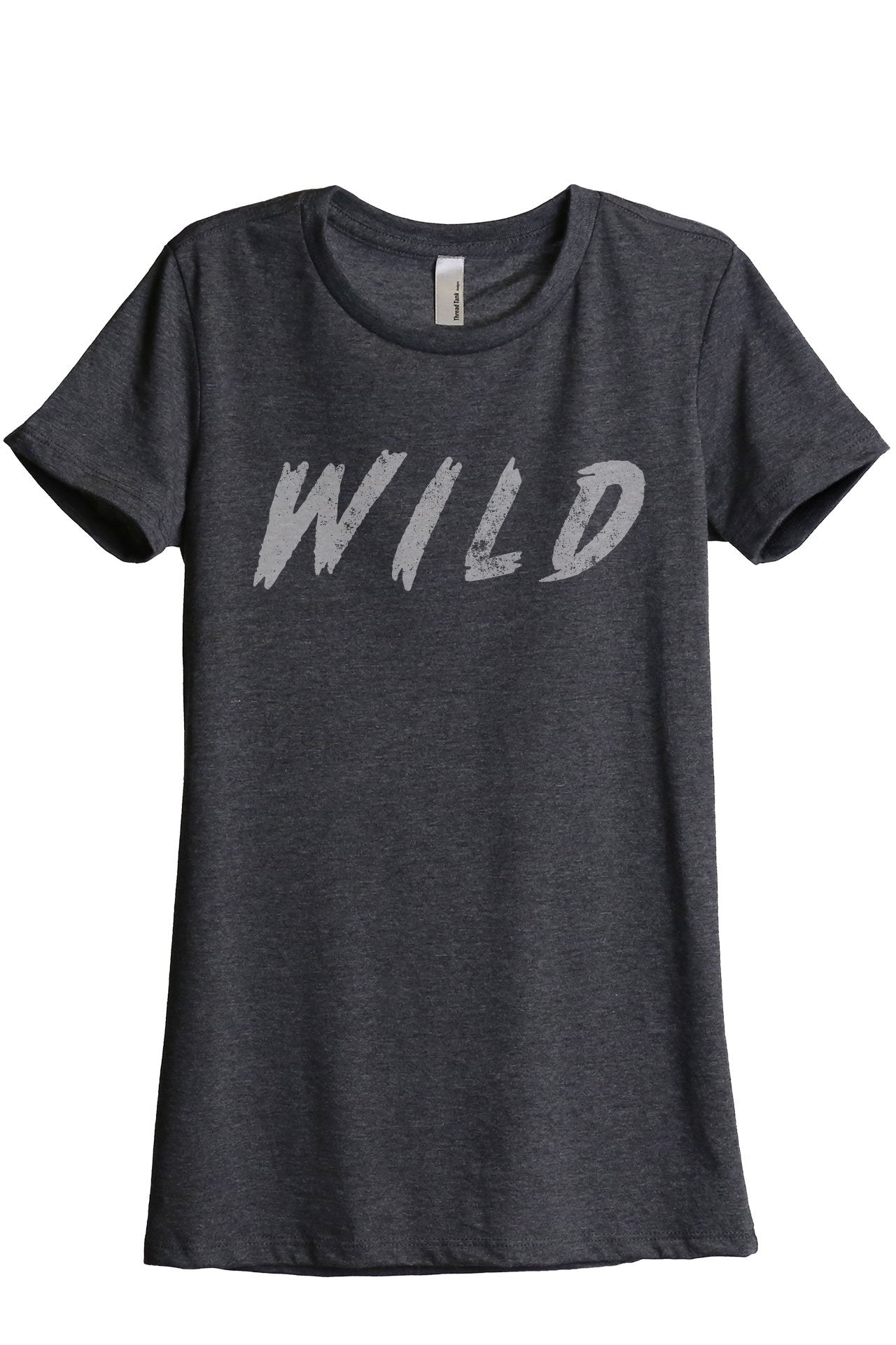 Wild Women's Relaxed Crewneck T-Shirt Top Tee Charcoal Grey