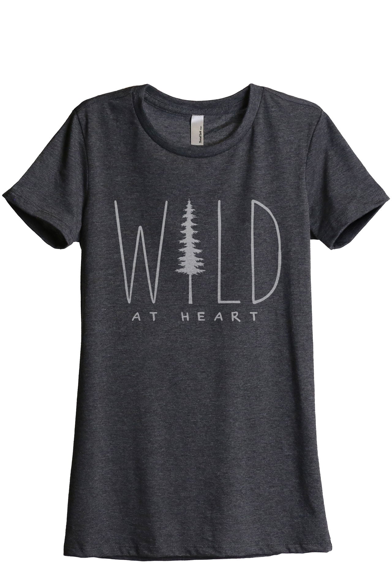 Wild At Heart Women's Relaxed Crewneck T-Shirt Top Tee Charcoal Grey