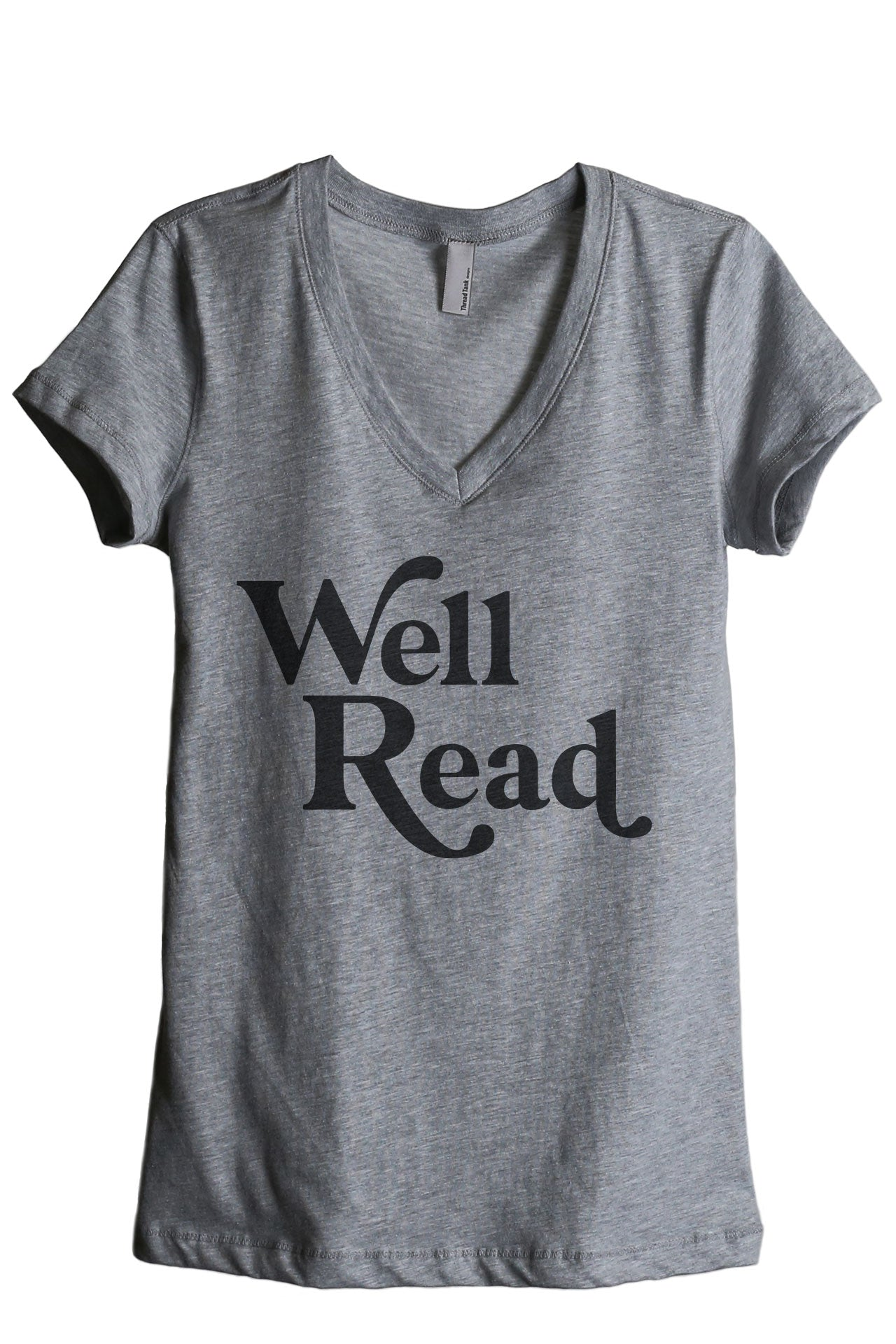 Well Read Women's Relaxed Crewneck T-Shirt Top Tee Heather Grey
