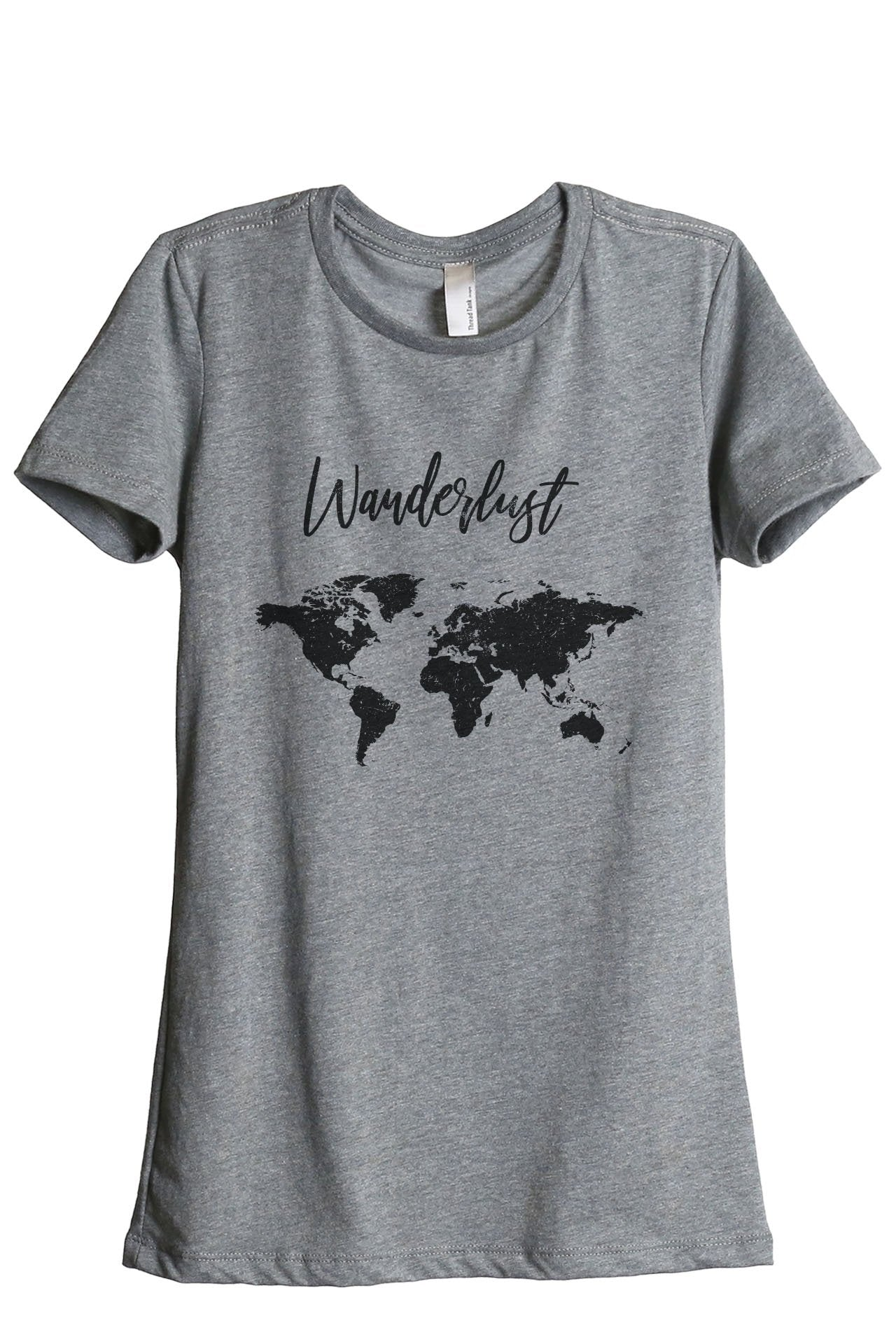 Wanderlust Travel World Women's Relaxed Crewneck T-Shirt Top Tee Heather Grey
