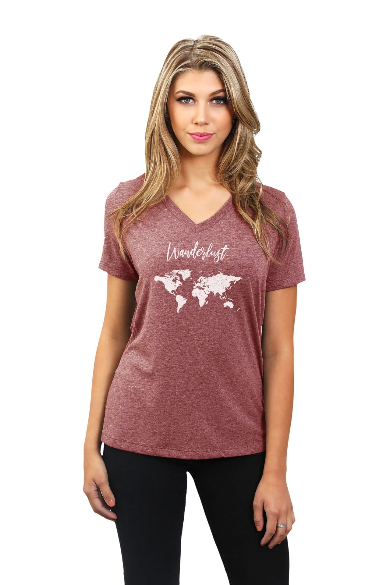Wanderlust Travel World Women's Relaxed V-Neck T-Shirt Tee Heather Rouge