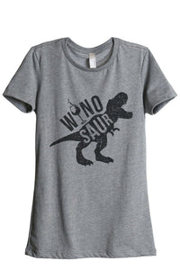 Winosaur Women Heather Grey Relaxed Crew T-Shirt Tee Top