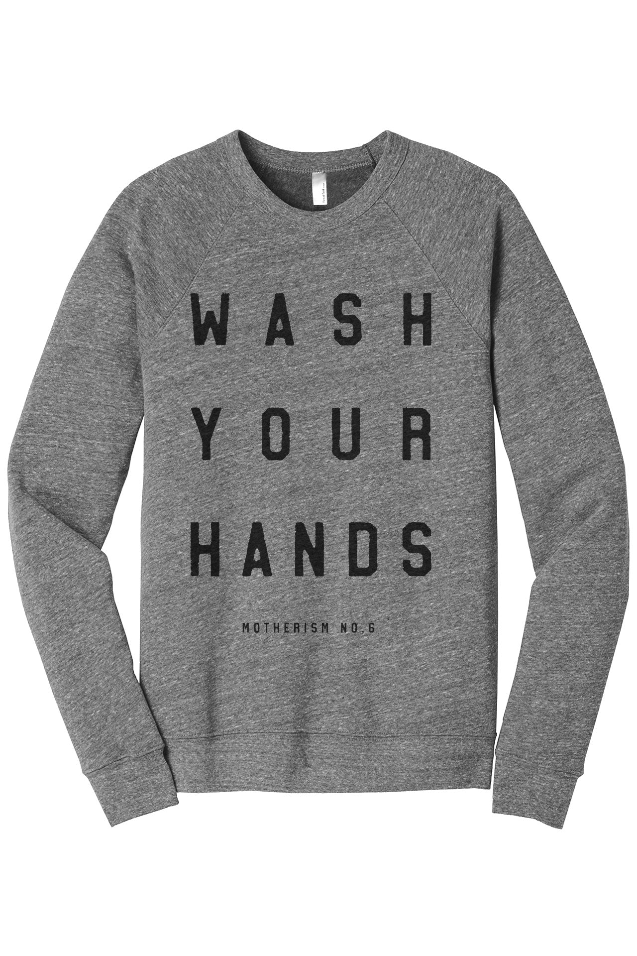 Wash Your Hands Motherism Women's Cozy Fleece Longsleeves Sweater Rouge Closeup Details