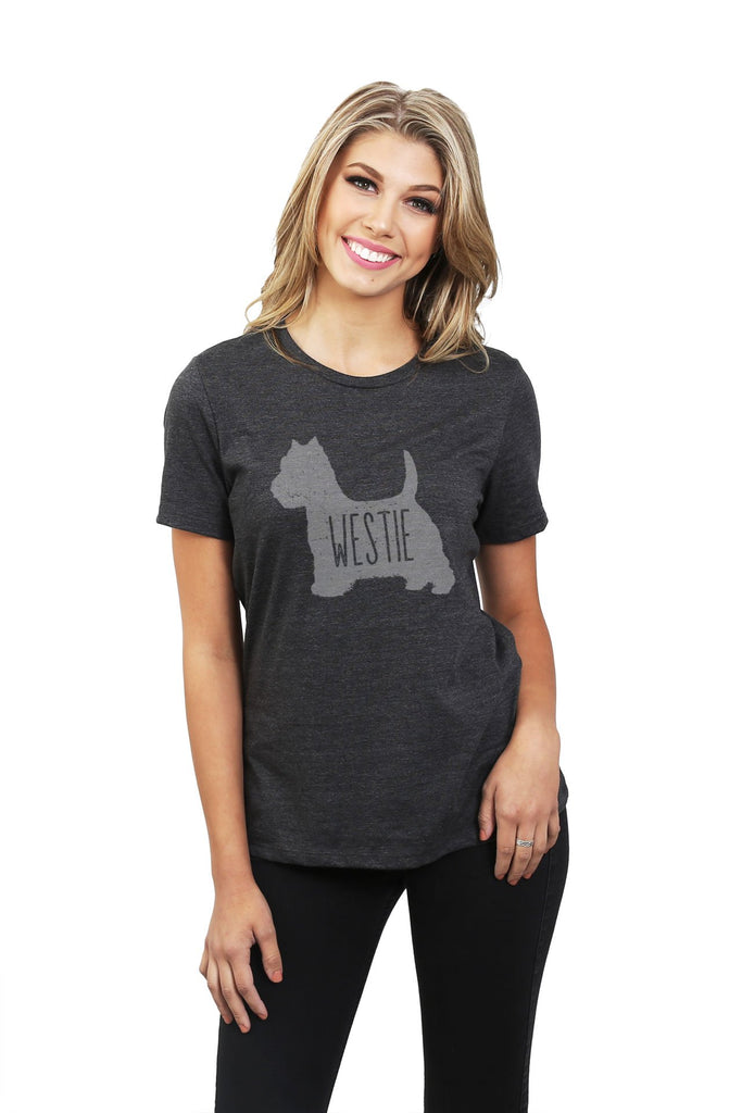 West Highland White Terrier Westie Dog Women Charcoal Grey Relaxed Crew T-Shirt Tee Top With Model