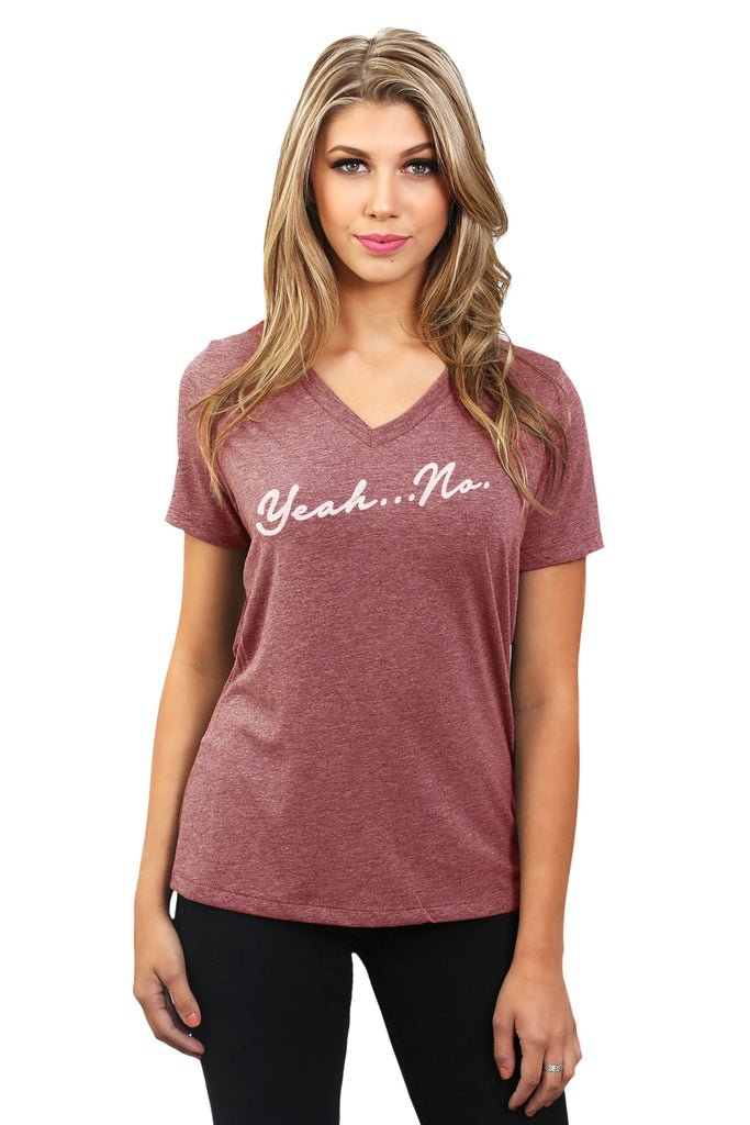 Yeah No Women's Relaxed Crewneck T-Shirt Top Tee Heather Rouge Model