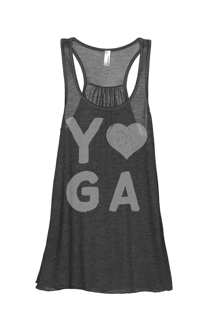 Yoga Heart Women Charcoal Grey Flowy Sleeveless Racerback Tank Top
