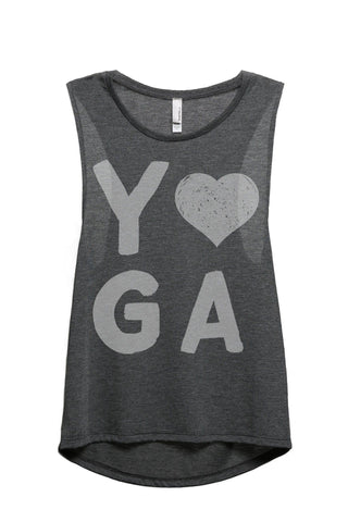 Yoga Heart Women Charcoal Grey Sleeveless Muscle Tank Top