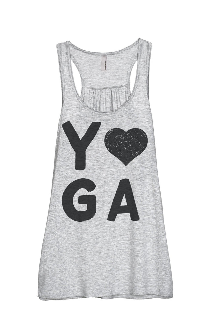 Yoga Heart Women Sport Grey Flowy Sleeveless Racerback Tank Top