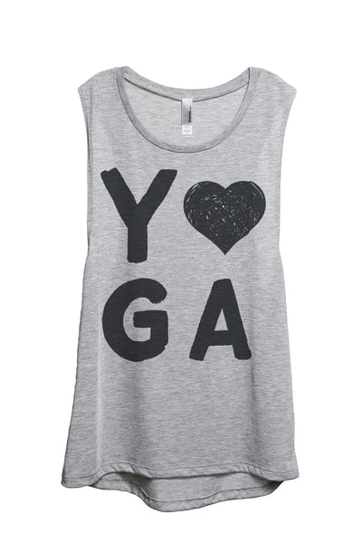 Yoga Heart Women Sport Grey Sleeveless Muscle Tank Top