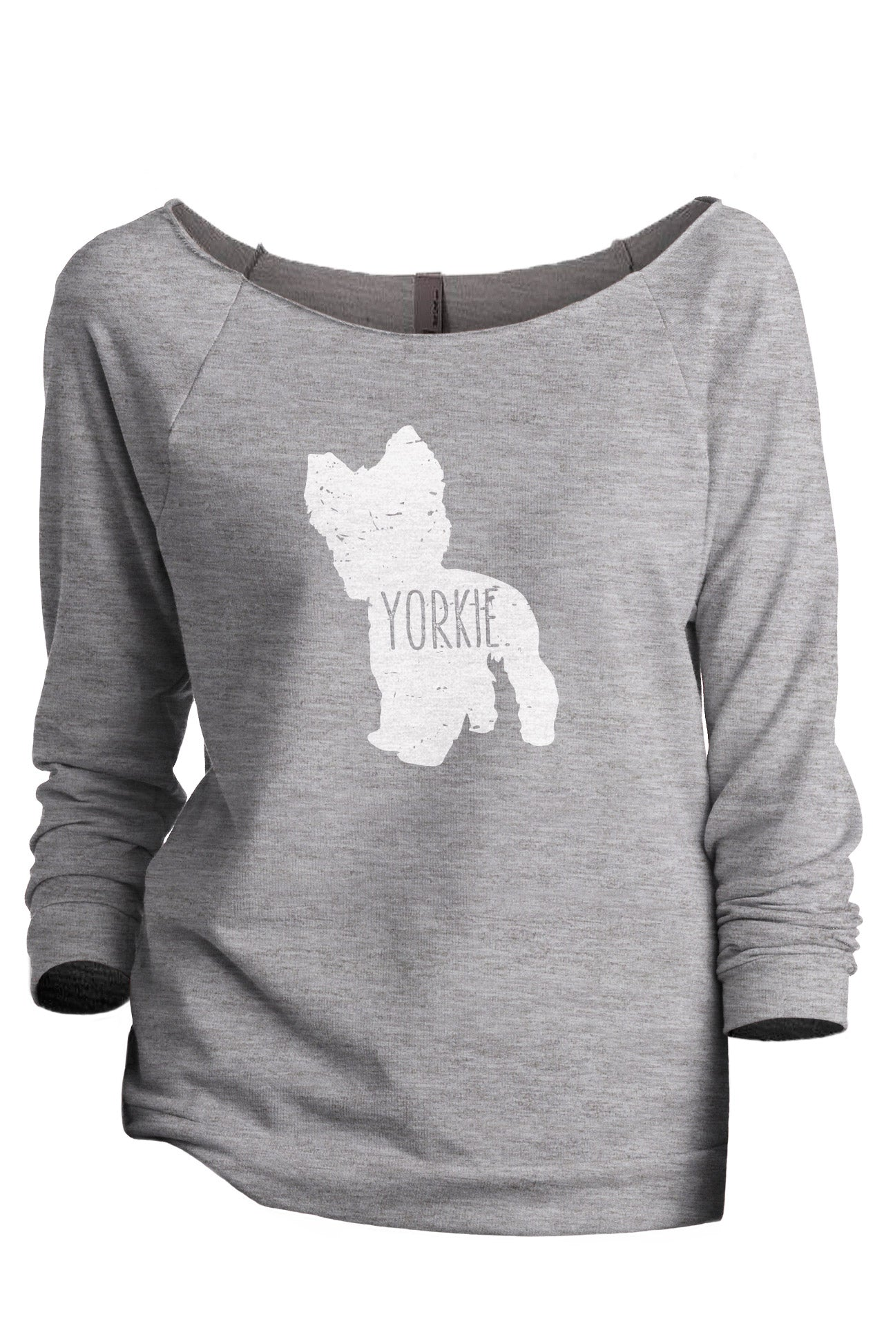 Yorkie Dog Silhouette Women's Graphic Printed Lightweight Slouchy 3/4 Sleeves Sweatshirt Sport Grey