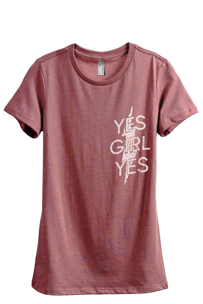 Yes Girl Yes Women's Relaxed Crewneck T-Shirt Top Tee Heather Rouge