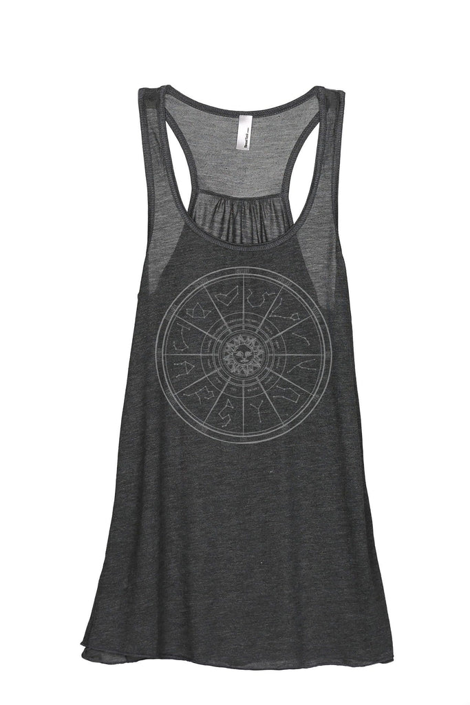 Zodiac Constellation Universe Women Charcoal Grey Flowy Sleeveless Racerback Tank Top