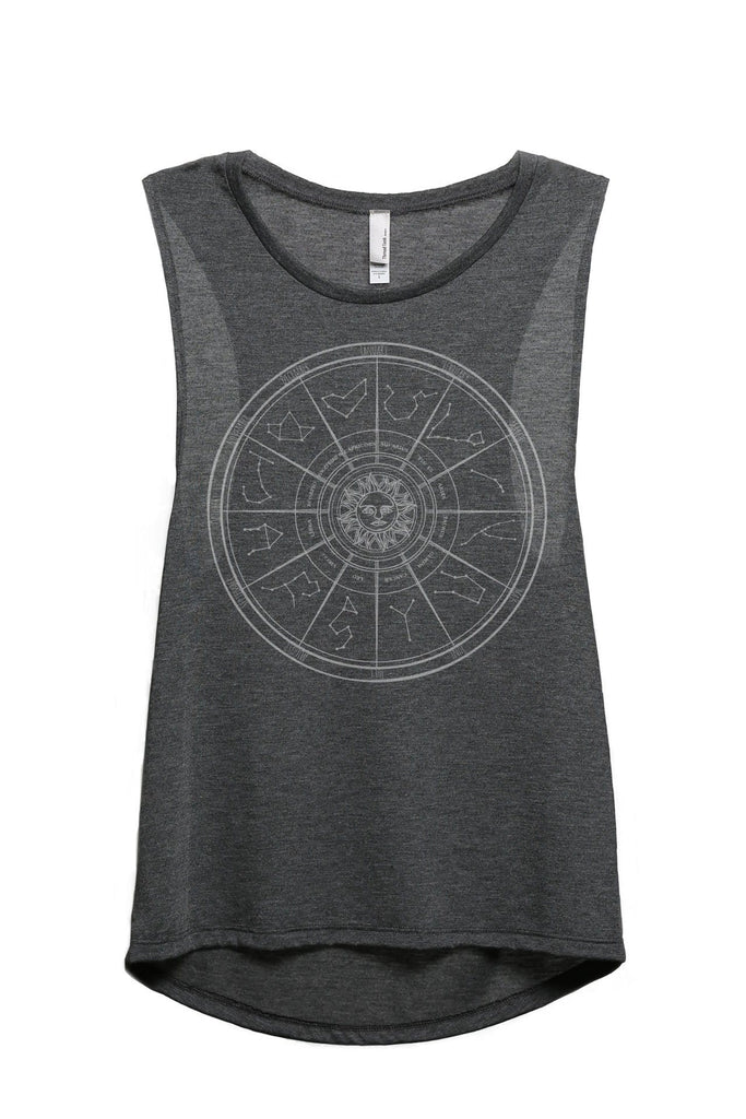Zodiac Constellation Universe Women Charcoal Grey Sleeveless Muscle Tank Top