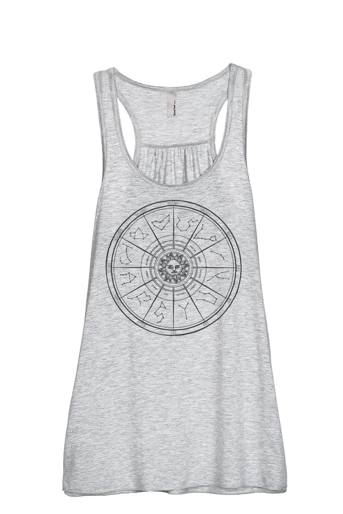 Zodiac Constellation Universe Women Sport Grey Flowy Sleeveless Racerback Tank Top