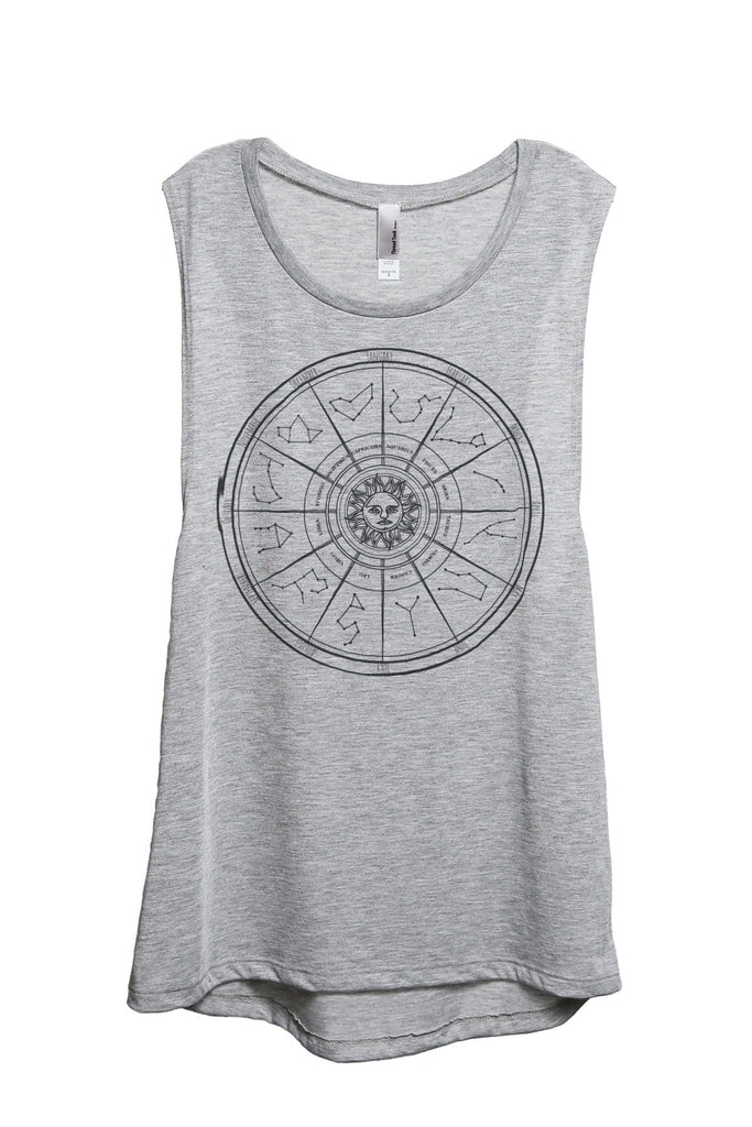 Zodiac Constellation Universe Women Sport Grey Sleeveless Muscle Tank Top