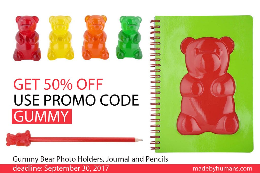 Use Promo Code GUMMY to Get 50% OFF on Gummy Bear Stationary Products