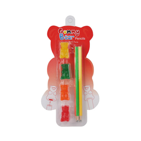 Made By Humans Gummy Bear Pencils and Erasers 4 assorted colors